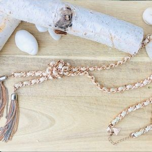Guess rosegold & silver leather threaded necklace